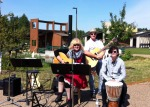 Our wee band, with Laura and Terry Bachynski and Alaina Pellizzari on Djembe.
