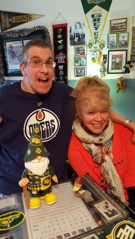 Jason and me with my gift for him : and Edmonton Eskimos Gnome
