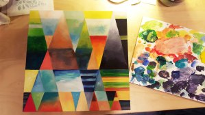 "L149A "" Post Modern Triangles "" , 12 X 12 , acrylic on wood panel , N.F.S."