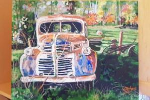 "L141 "" Retired ! "" , 16 X 20 , acrylic on canvas, $350"