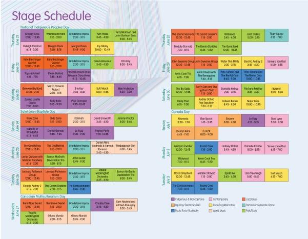 Stage Schedue 2018