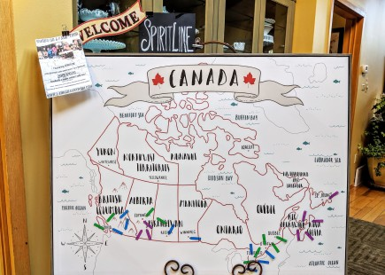 Mary Lambert makes us a poster of all the stops on our Cross Canada Tour