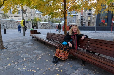 Laura rests outside Notre Dame