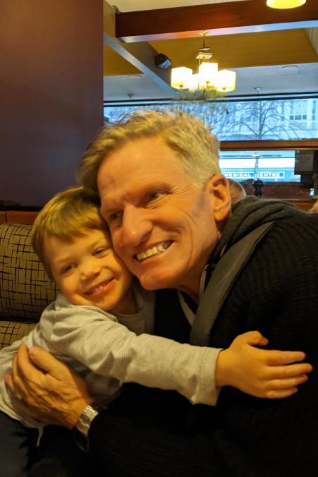 Spontaneous hug for Grandpa