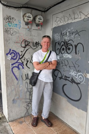 Terry near graffiti wall