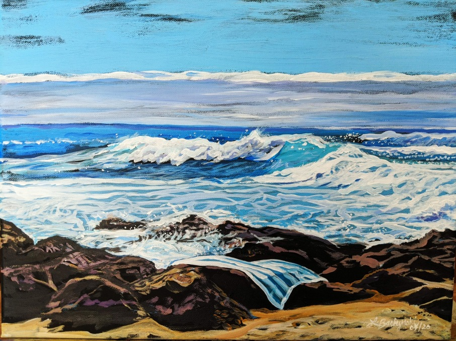 """L72 """" Kona Beach Towel """" , 16 x 12 , acrylic on canvas, $350 unframed"""